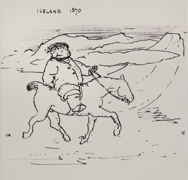 Morris in Iceland, caricature by Burne-Jones