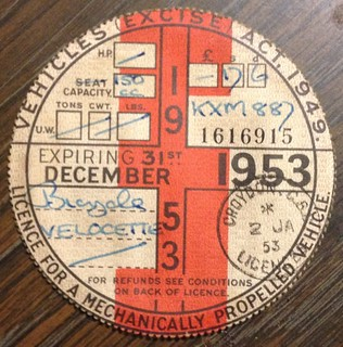 GREAT BRITAIN 1953 ---MOTORCYCLE TAX DISK FOR LICENSE PLATE #KXM887