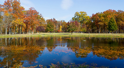 park autumn lake fall colors landscape pond colorful cranford nomahegan