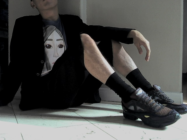 Raf Simons Runners with Black Socks, Sweater and Shorts