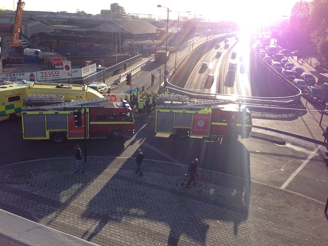 Another cyclist down at the Bow Flyover roundabout this morning. I hope it is not as bad as it looks.
