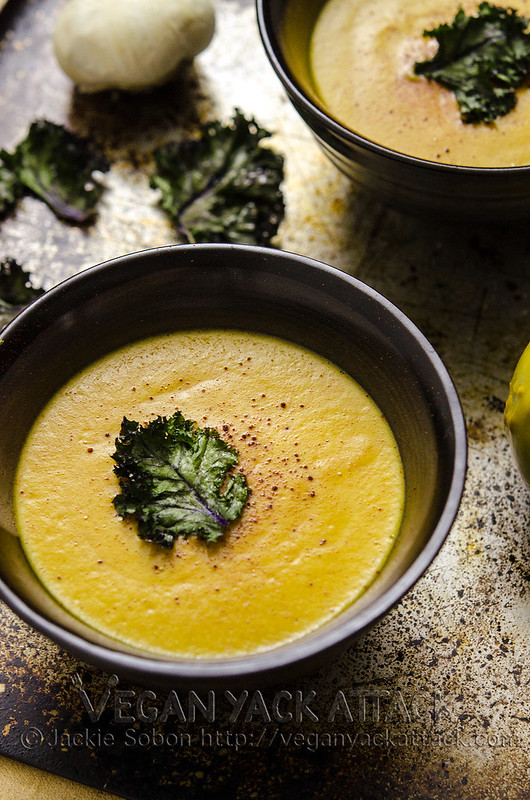 A Smoky Pumpkin Bisque that is low on fat, high on protein, super-creamy and filled with pumpkin! Vegan, Dairy-free, Gluten-free