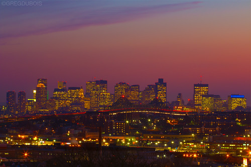 Sunset over Boston Skyline with Tobin Bridge Light Trails, Chelsea and Everett Foreground by Greg DuBois Photography