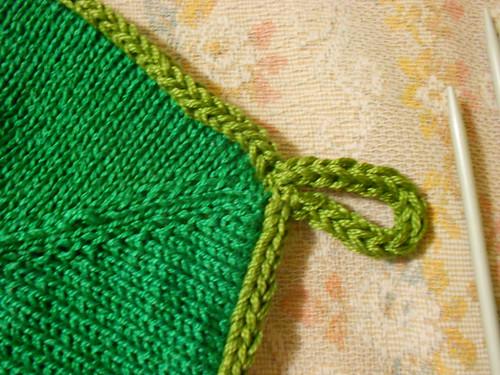петелька на зеленой стороне
