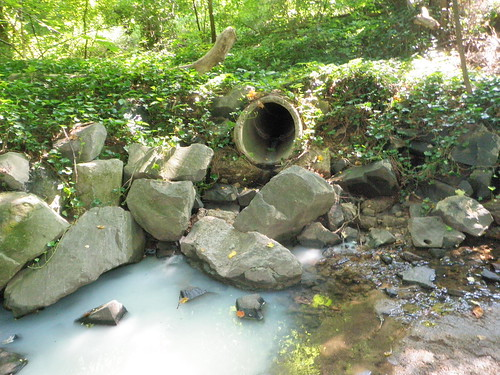 Image of paint contamination of a stream
