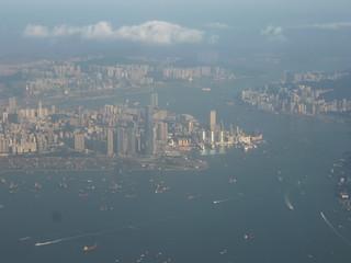 201311114 CX743 HKG-RUH Hong Kong harbour
