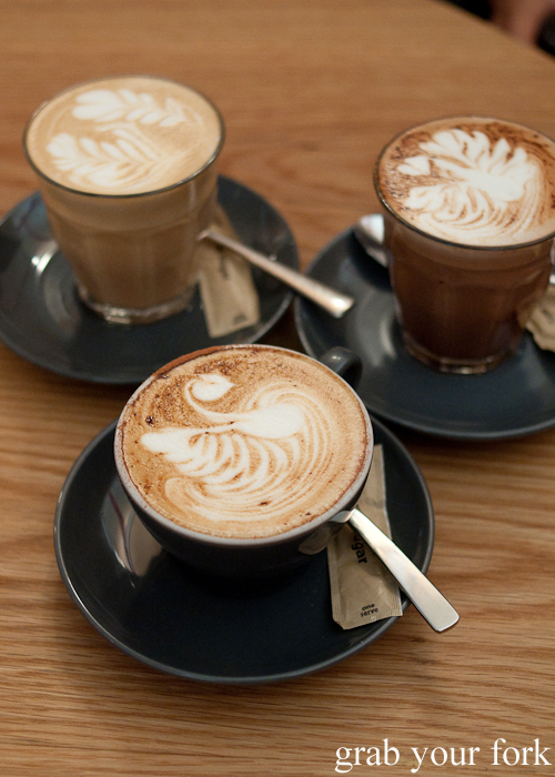 Swan, double fern and phoenix latte art at Three Williams using Single Origin Roasters coffee beans