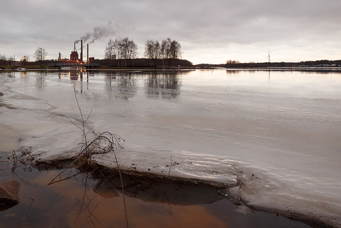 winter ice water finland landscape factory cloudy oulu papermill storaenso