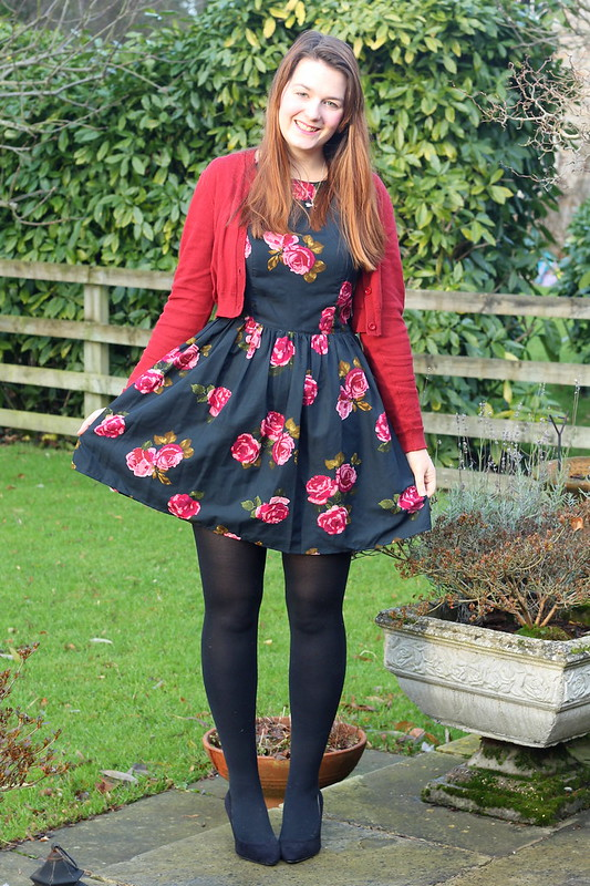 outfit of the day, floral dress, cardigan, heels