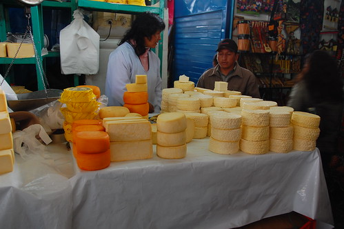 Cheese for sale at the Cusco market