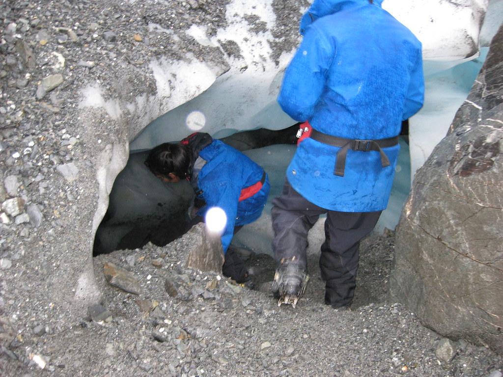 Entering an ice cave on Franz Josef Glacier - New Zealand