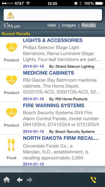 Screenshot of Recall API app on USA.gov iPhone app