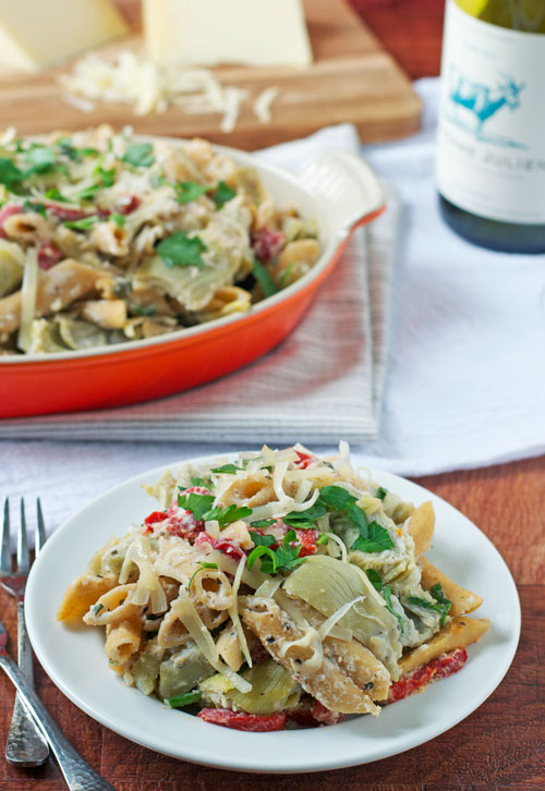 Easy Healthy Ricotta Pasta with Artichokes