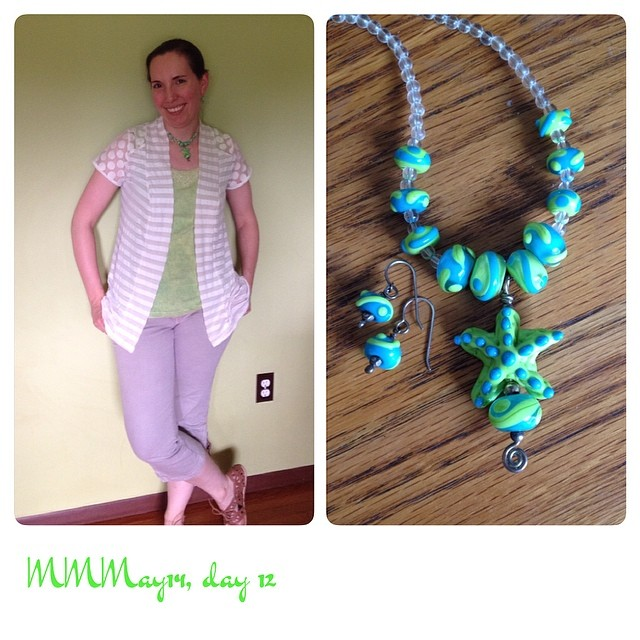 #mmmay14 day 12: new cardigan (based on @deer_and_doe Plantain), me-embellished tank, jewelry. Cropped pants passed on from a friend, @ModCloth shoes.