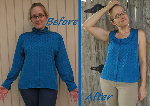 Blue Button Blouse - Before & After