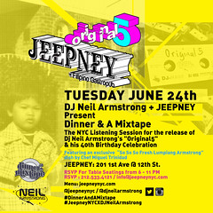 "6/24 - Please join me @ Jeepney NYC for ""Dinner & A Mixtape"" - 40th Bday celebration / listening session"