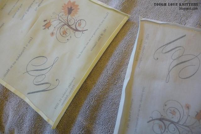 Wedding Handkerchief - Pressing - different fabric