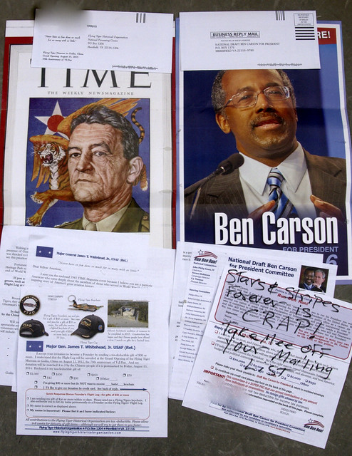 Ben Carson and Flying Tigers junk mail
