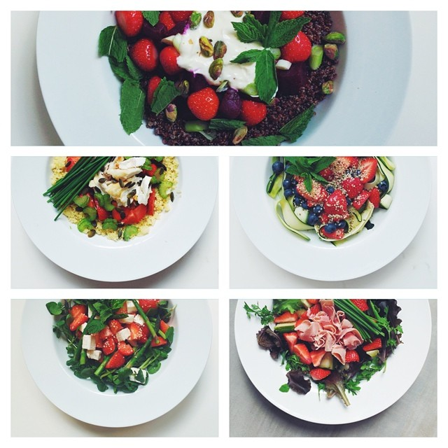 What's your favourite strawberry salad?! #strawberries #vegetarian #salad #happydesksalad #desklunch #desk #veg #nutrition #nutritionist #notsdadesklunch #fit #fitness #instafood #instasalad #feelgood #healthy #healthyfood #saladpride #saladlove #saladjam