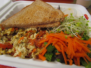 Veggie Scramble with Toast and Salad at Ruffage