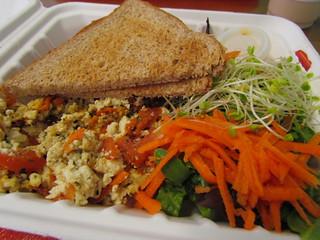 Veggie Scramble with Toast and Salad at Ruffage