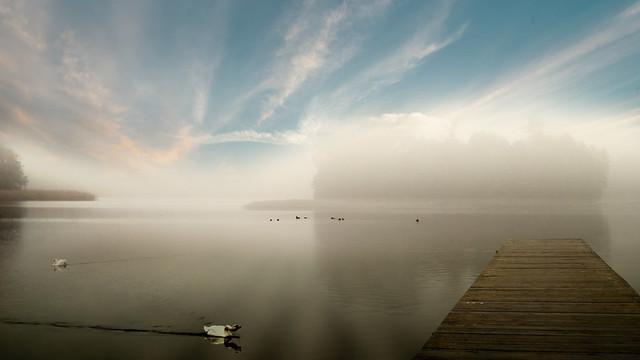 Lake in the fog.