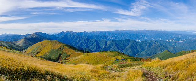 登ってきた草紅葉の稜線と谷川連峰の大展望@御機屋直下