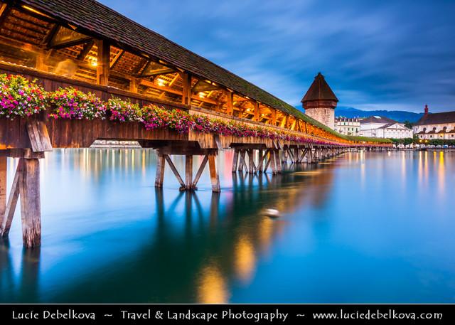 Switzerland - Lucerne - Luzern - Historical Altstadt - Old Town with Kapellbrücke at Dusk - Twilight - Blue Hour