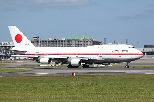 Goodbye Dublin, Japanese Air Force Boeing 747-47C 20-1102 lining up runway 34