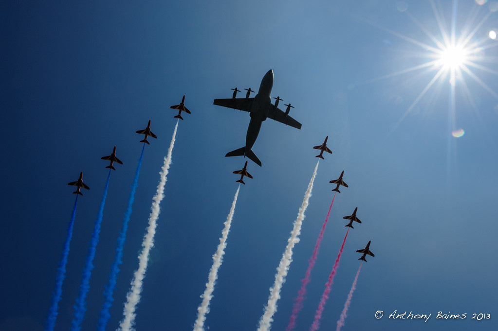 Airbus Military A400M and the Red Arrows