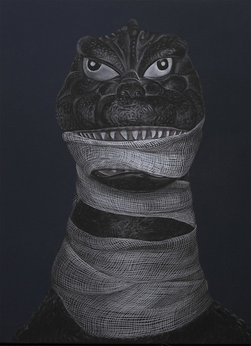 Adeel Uz Zafar, Protagonist (Kong and Godzilla) diptych, 2013, Engraved drawing on vinyl, 40.64 x 30.48 cm (LR)g