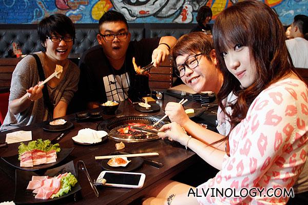 My friends enjoying their food