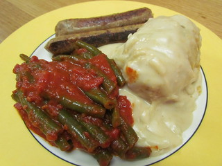 Potato Gratin; Green Beans Cookies with Garlic, Tomato adnd Olive Oil