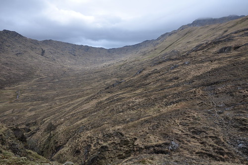 View back up to Bealach Scamodale