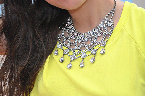 something fashion, neon outfit top, DKNY bag, rhinestone elegant zara necklace4