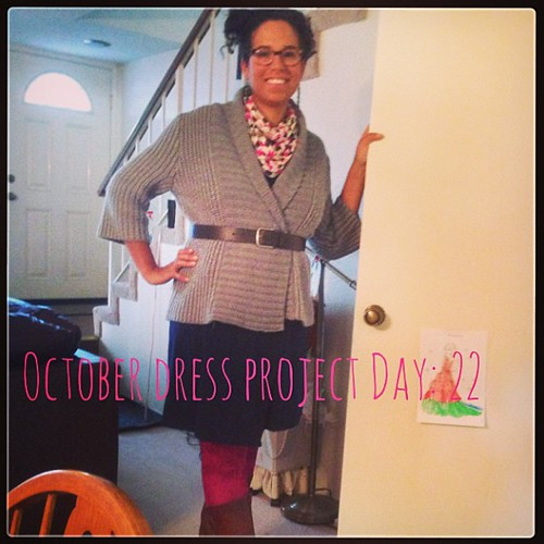#ODP Day 22. The girls were sure I painted my legs today. Blue Dress, chunky sweater, brown belt, fuchsia tights, brown boots. #ABeautifulMess