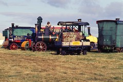 asphalt(0.0), agriculture(0.0), agricultural machinery(0.0), harvest(0.0), construction equipment(0.0), crop(0.0), harvester(0.0), farm(1.0), field(1.0), vehicle(1.0), transport(1.0), locomotive(1.0), tractor(1.0),