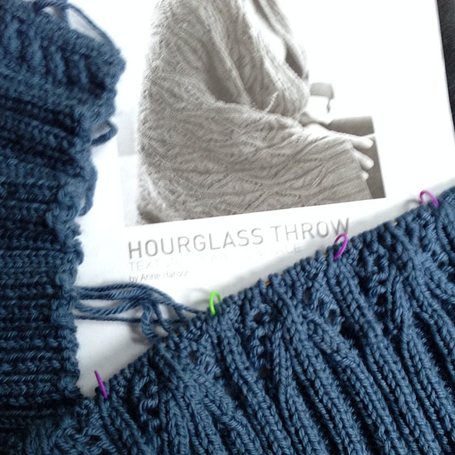 Started the other day. #knitting #hourglassthrow #brooklyntweed #debbieblissyarn #merinoaran