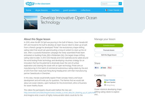 Develop Innovative Open Ocean Technology - skype in the classroom