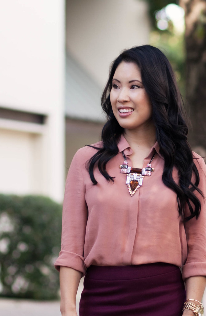 cute & little blog | jewelmint city light statement necklace, shades of pink outfit #ootd