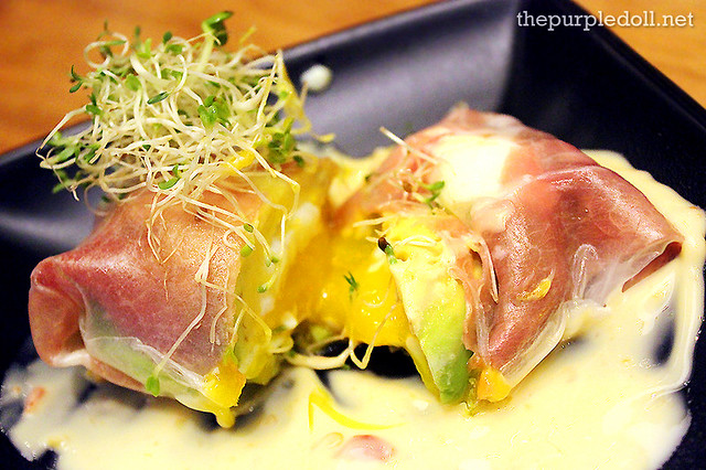 Spring Roll of Prosciutto, Avocado and Onsen Egg