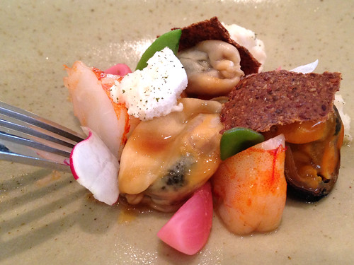 Prawn, Mussel, Radish, Miso, Green Tea at Gladioli Restaurant