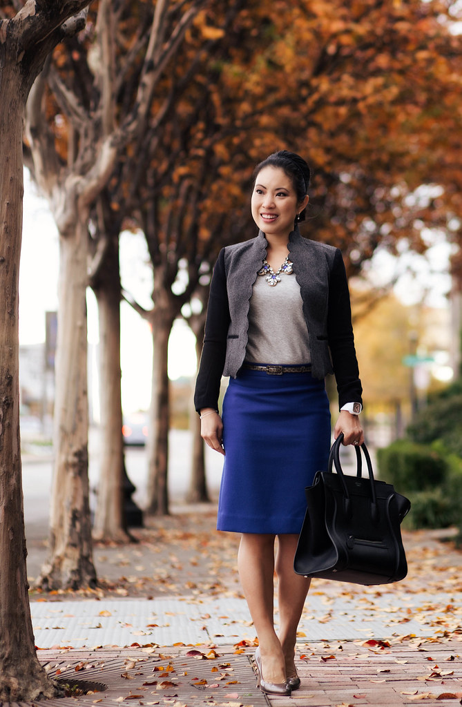cute & little blog   scalloped blazer, j. crew no. 2 skirt baroque blue, daisy gem statement necklace, celine mini luggage tote   fall layers