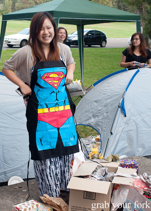 Superman apron at the Sydney Food Bloggers Christmas Picnic 2013