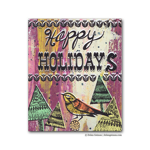 Dolan Geiman, Happy Holidays Panel Painting, Christmas Bird Painting