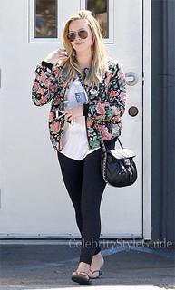 Hilary Duff Floral Bomber Jacket Celebrity Style Women's Fashion