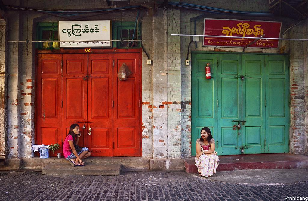 Waiting at Yangon market