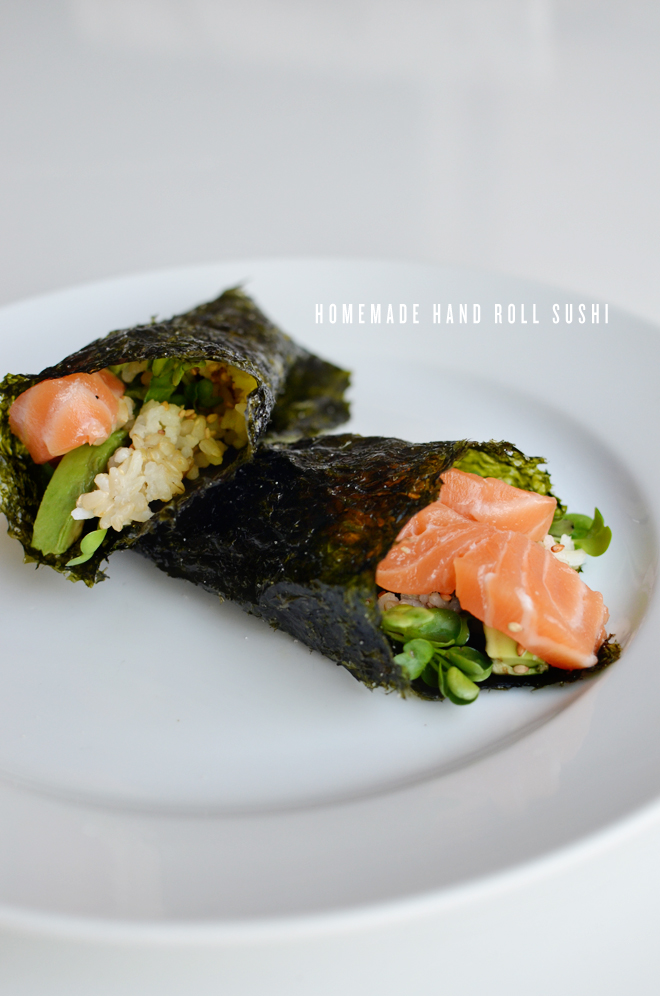 homemade hand roll sushi