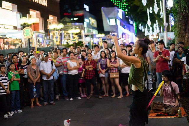 Japanese buskers performing along Orchard Road