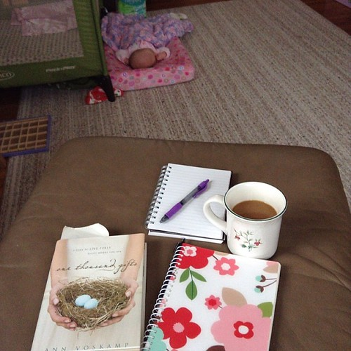 Relaxing baby; coffee; journal & beginning a new book. #startingmoments #hellomorningcoffee